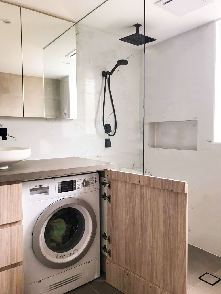 Washing machine in cabinet   Small bathroom, Laundry in ... on Small Space Small Bathroom Ideas With Washing Machine id=54078