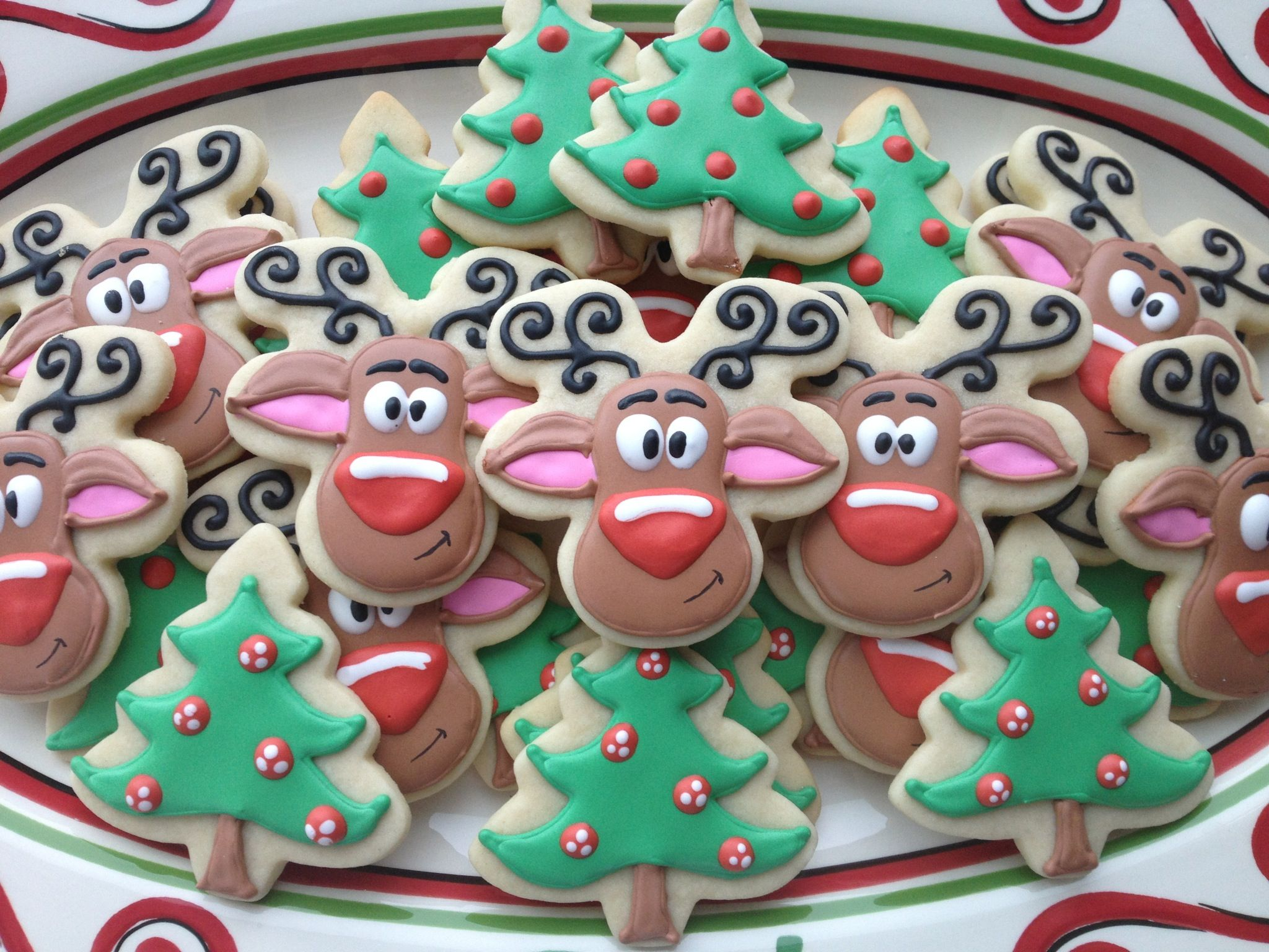 Christmas Cookies Rudolph sugar cookies with royal icing