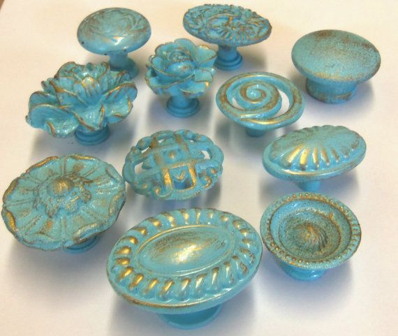 drawer pulls and knobs cheap collection aqua turquoise robins egg distressed shabby cottage chic antique glass