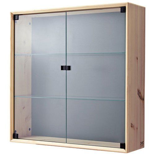 Glass Door Curio Display Cabinet Wall Mount with Solid Pine Wood ...