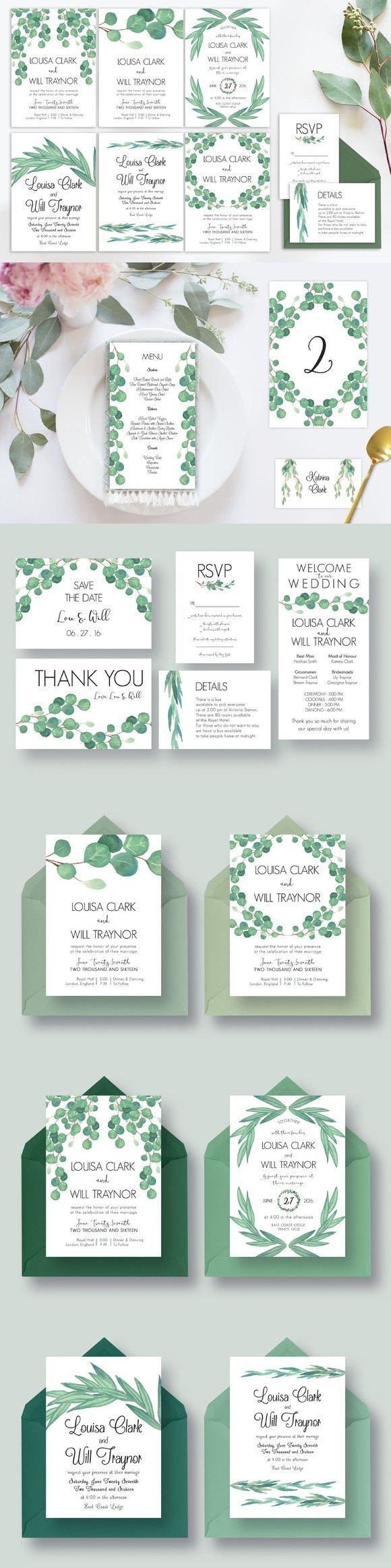 templates for wedding card design%0A Eucalyptus Wedding Suite Vol
