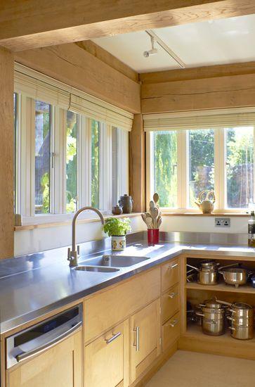 stainless steel kitchen worktop with integrated sink basin windows rh pinterest com