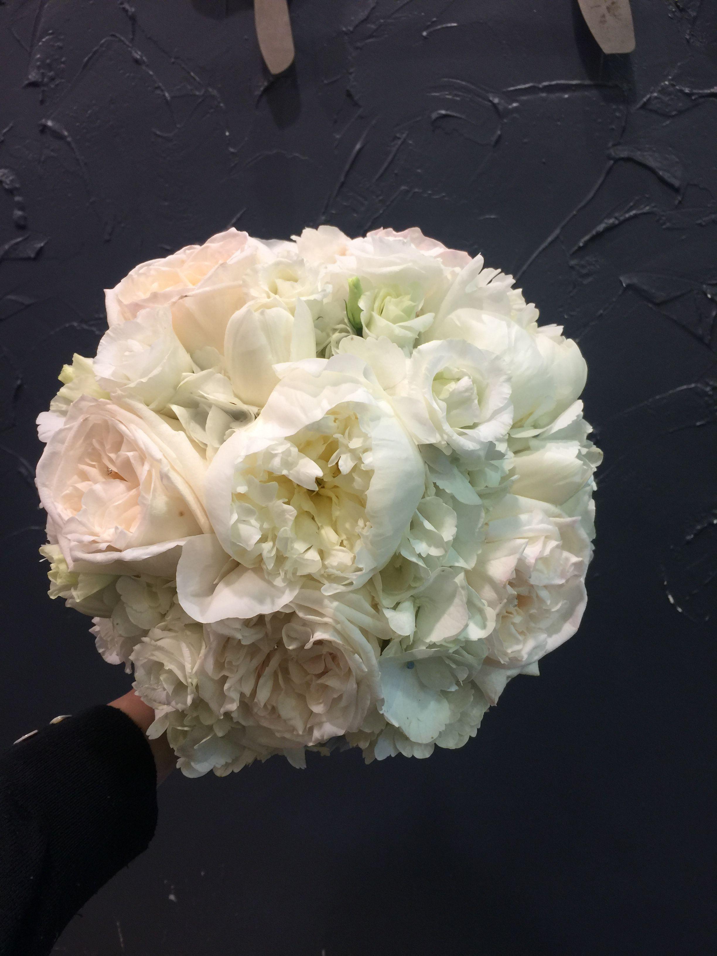 Round white O'hara rose, peony rose, hydrangea, white tulips and white lisianthus bridal bouquet.