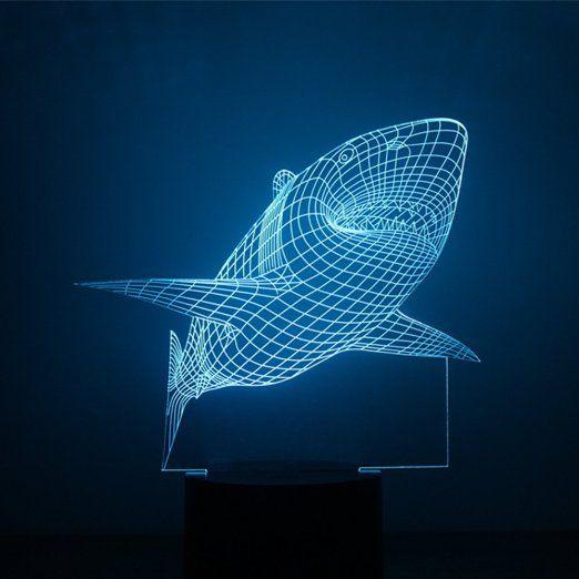 Alisable 3D Nachtlampe Hai Form Touch Licht 7 Farben, Die änderbar Sind