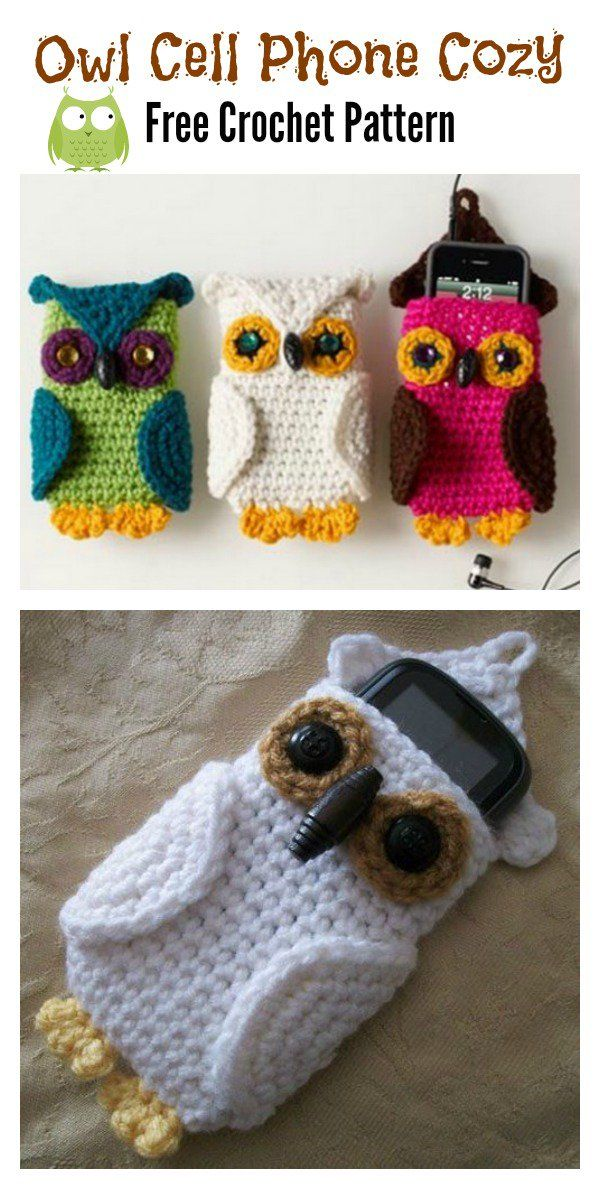 Owl Cell Phone Cozy Free Crochet Pattern | Pinterest | Los buhos ...
