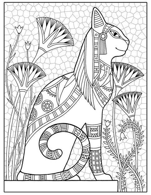 Raskraski Antistress 51 Jpg 484 624 Pixels Egipetskie Koshki Raskraski Illyustracii
