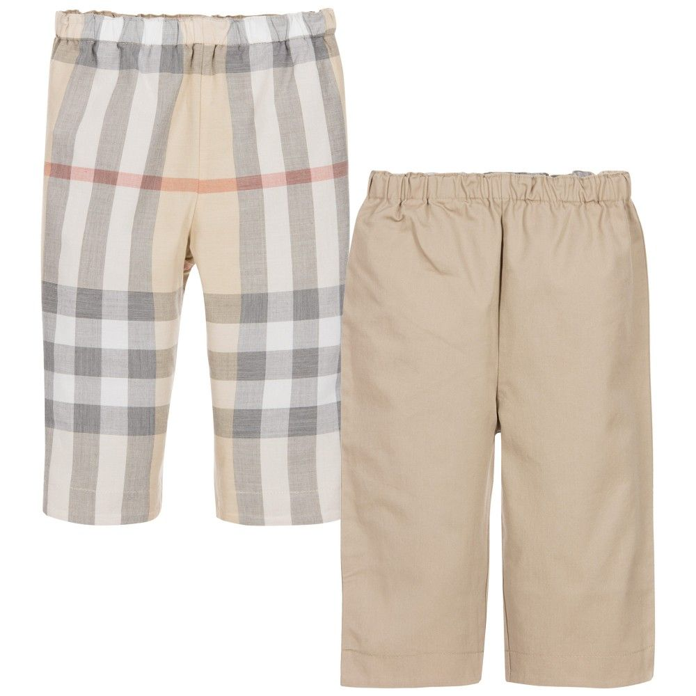 9ecc78b4bc1e7 BURBERRY Baby Boys Beige Classic Check Reversible Trousers ...