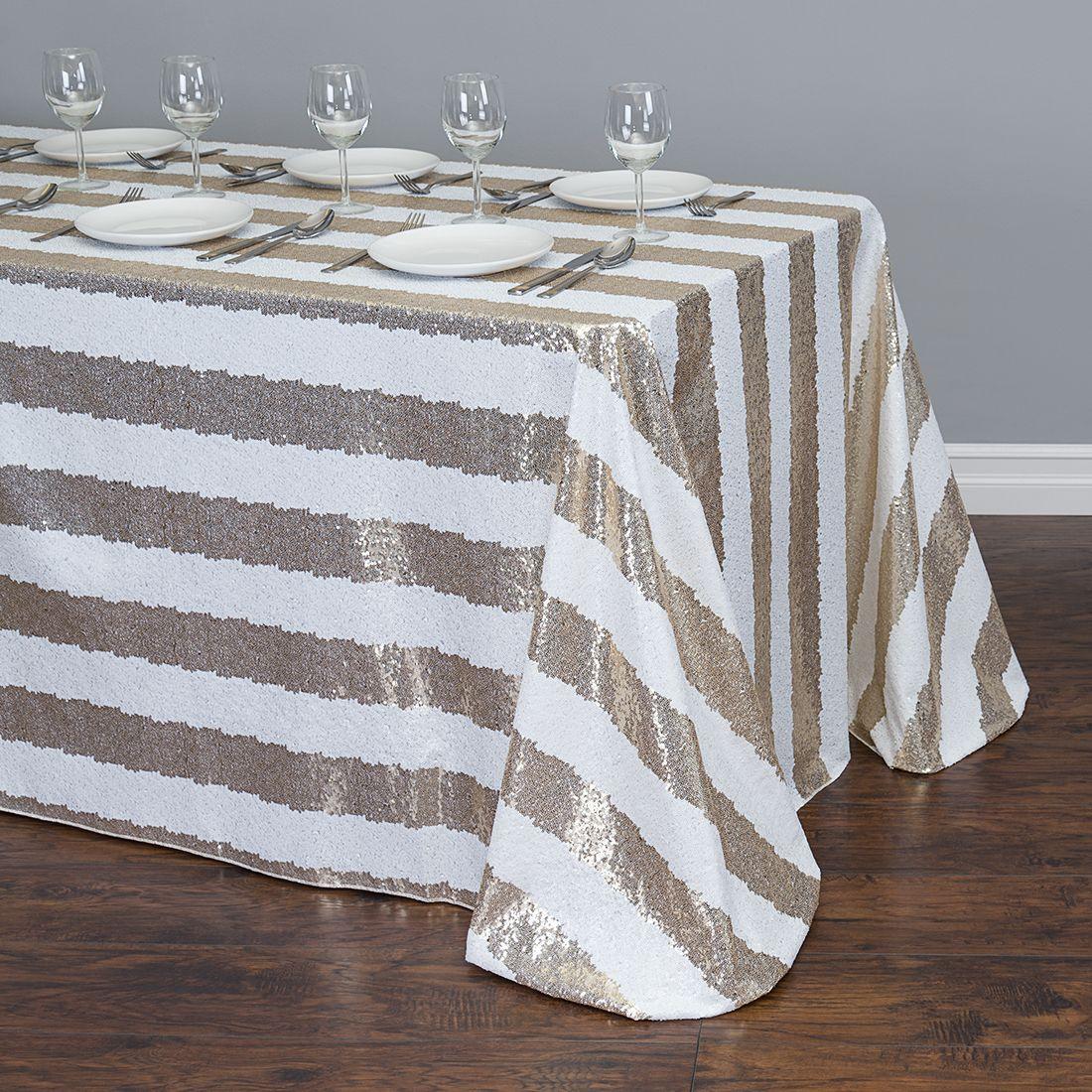 90 x 132 in rectangular sequin striped tablecloth gold white rh pinterest com