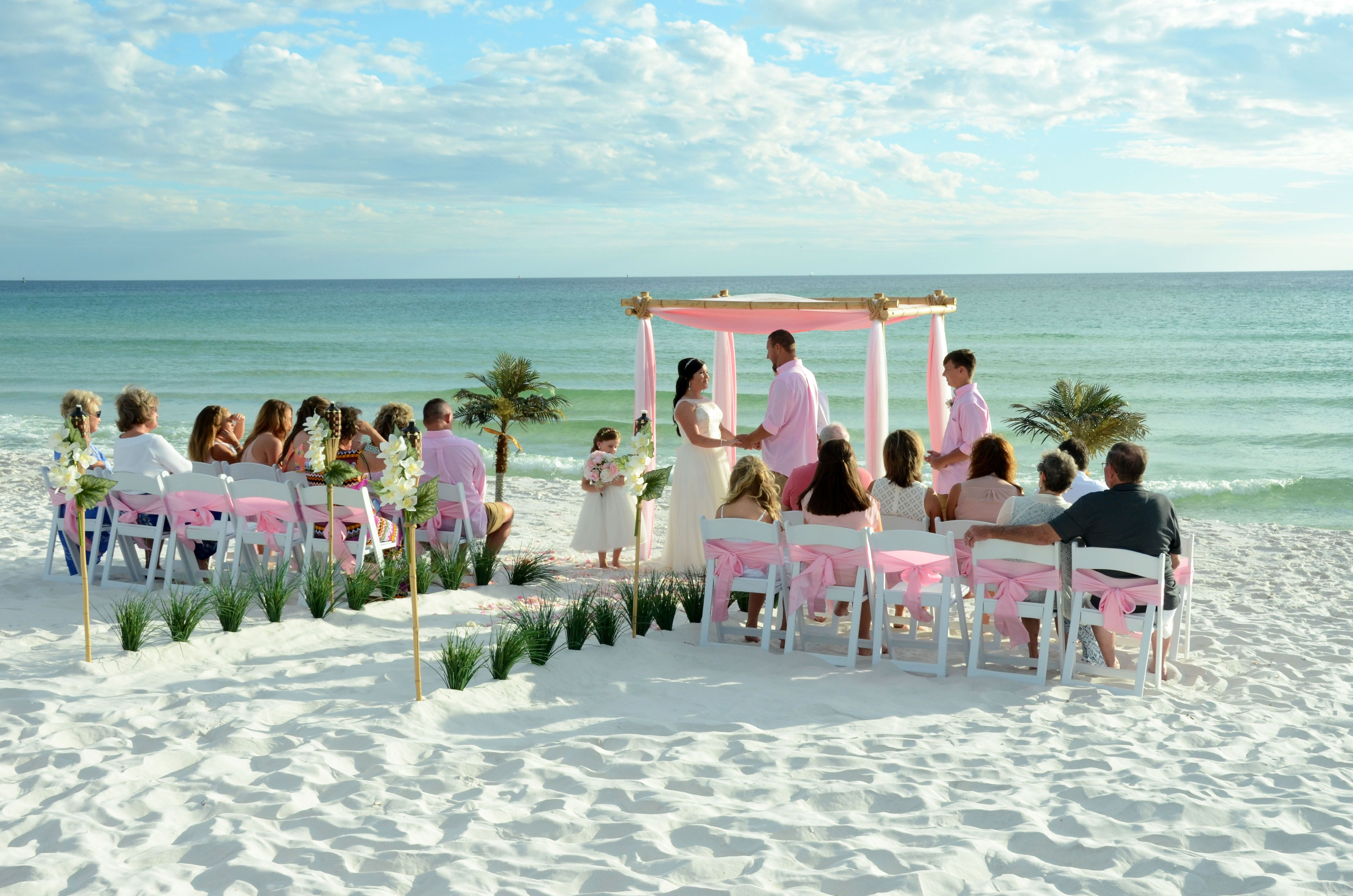 Pink and White wedding arbor. St. Andrew's State Park