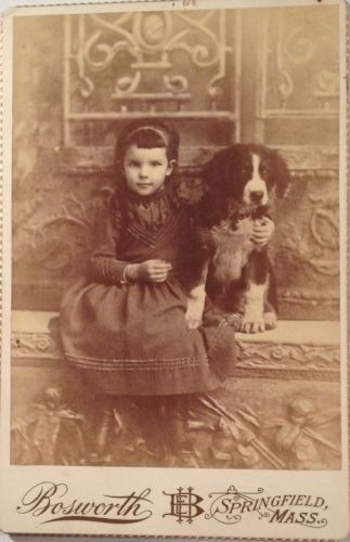 Cabinet-photo-of-little-GIRL-with-her-SPANIEL-DOG