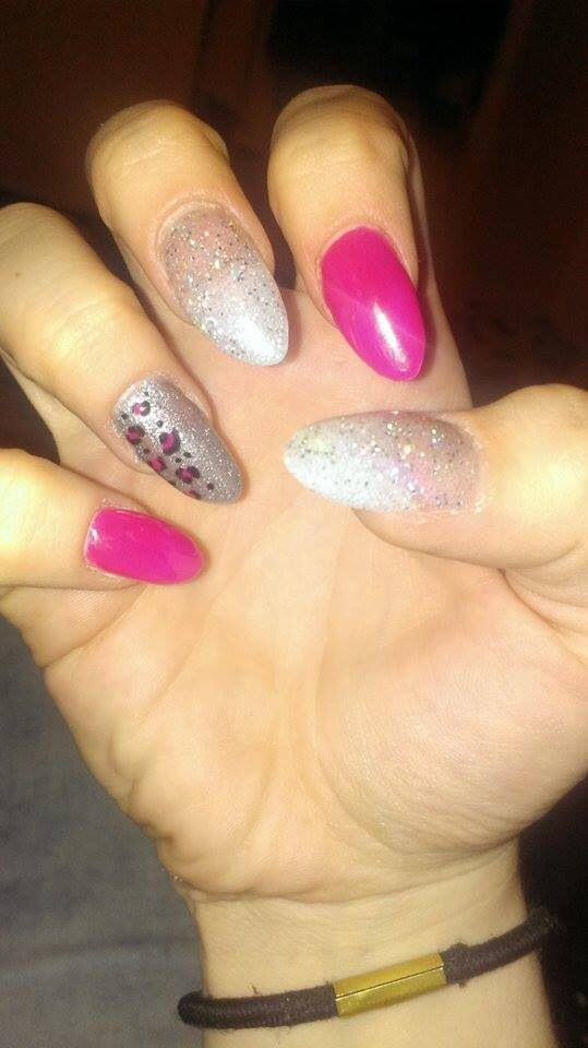 Acrylic nails with perfect match gel polish on top! Go girl, silver screen and hologram diamond with leopard print!