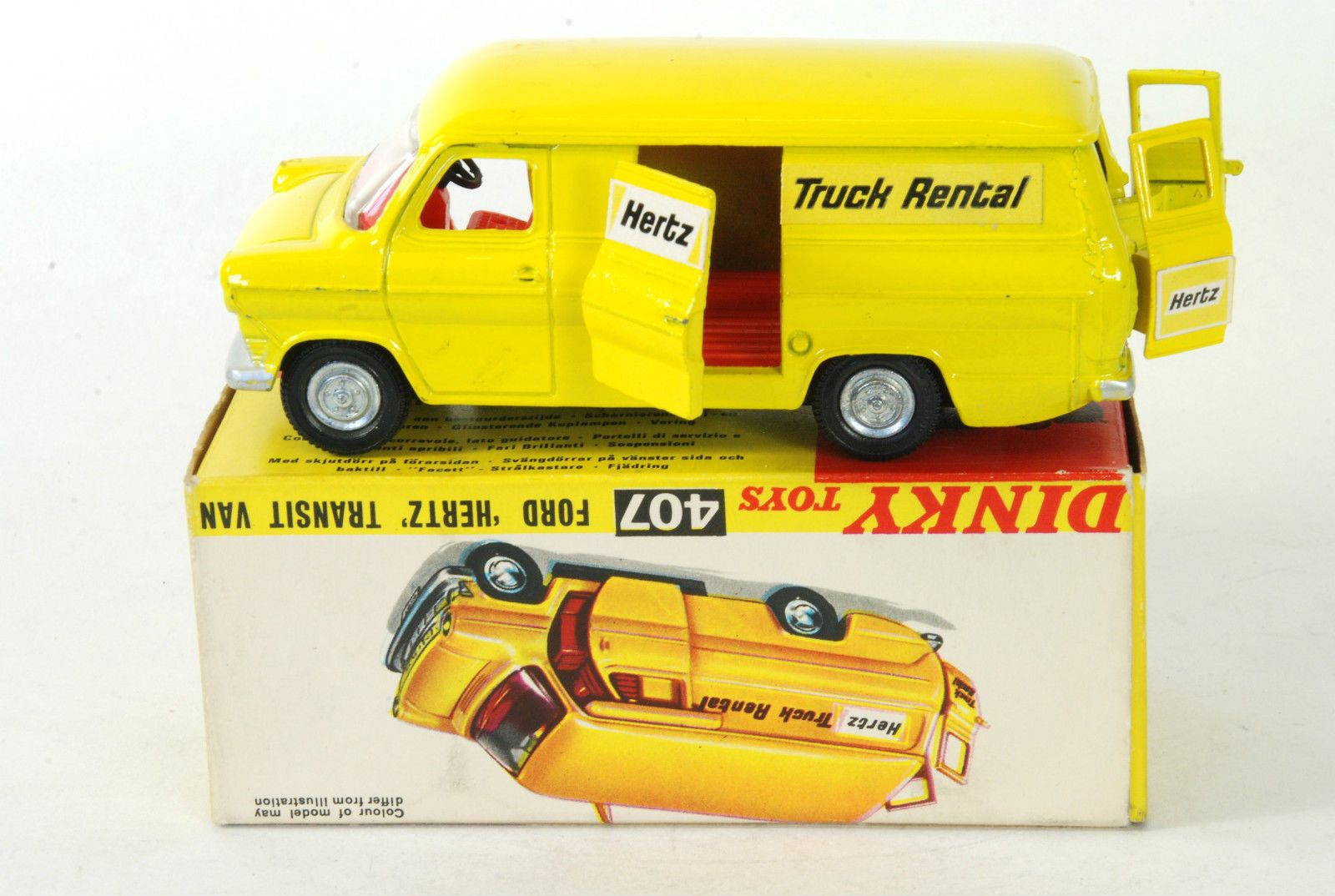 "Dinky toys 407 ford transit van ""hertz truck rentals"" mint"