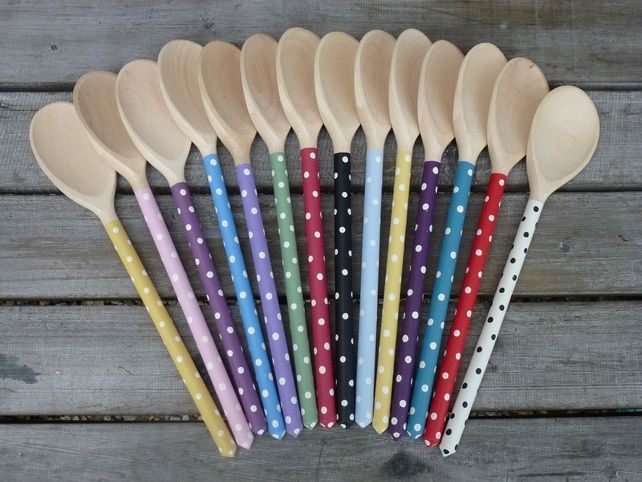 Hand painted shabby chic spotty polka dot wooden spoon for Wooden spoons for crafts