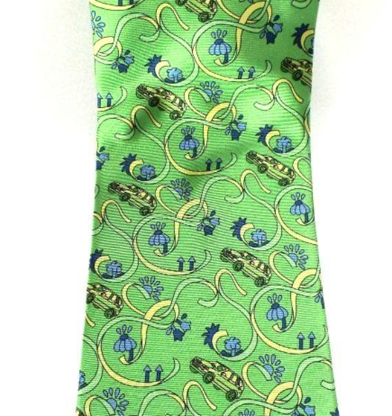 XS Mens Pure Silk Tie Necktie Cars Autos Bright Green Classic Made in Italy #XS #NeckTie