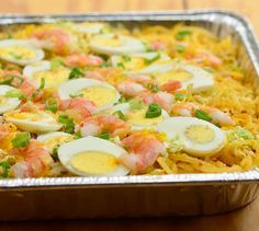 Pancit Malabon is a noodle dish made with shrimp sauce, napa cabbage, chicharon and seafood
