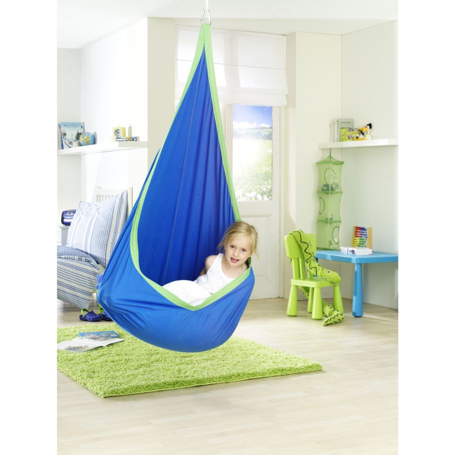 kids hanging chair for bedroom%0A Children u    s Joki Hanging Crows Nest in Blue and Green  Indoor Swing Seat   Fabric Kids Relaxer Hammock Chair  Green  Blue