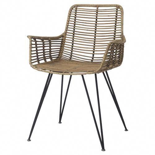 palecek hermosa coastal beach metal frame rattan dining arm chair rh pinterest com