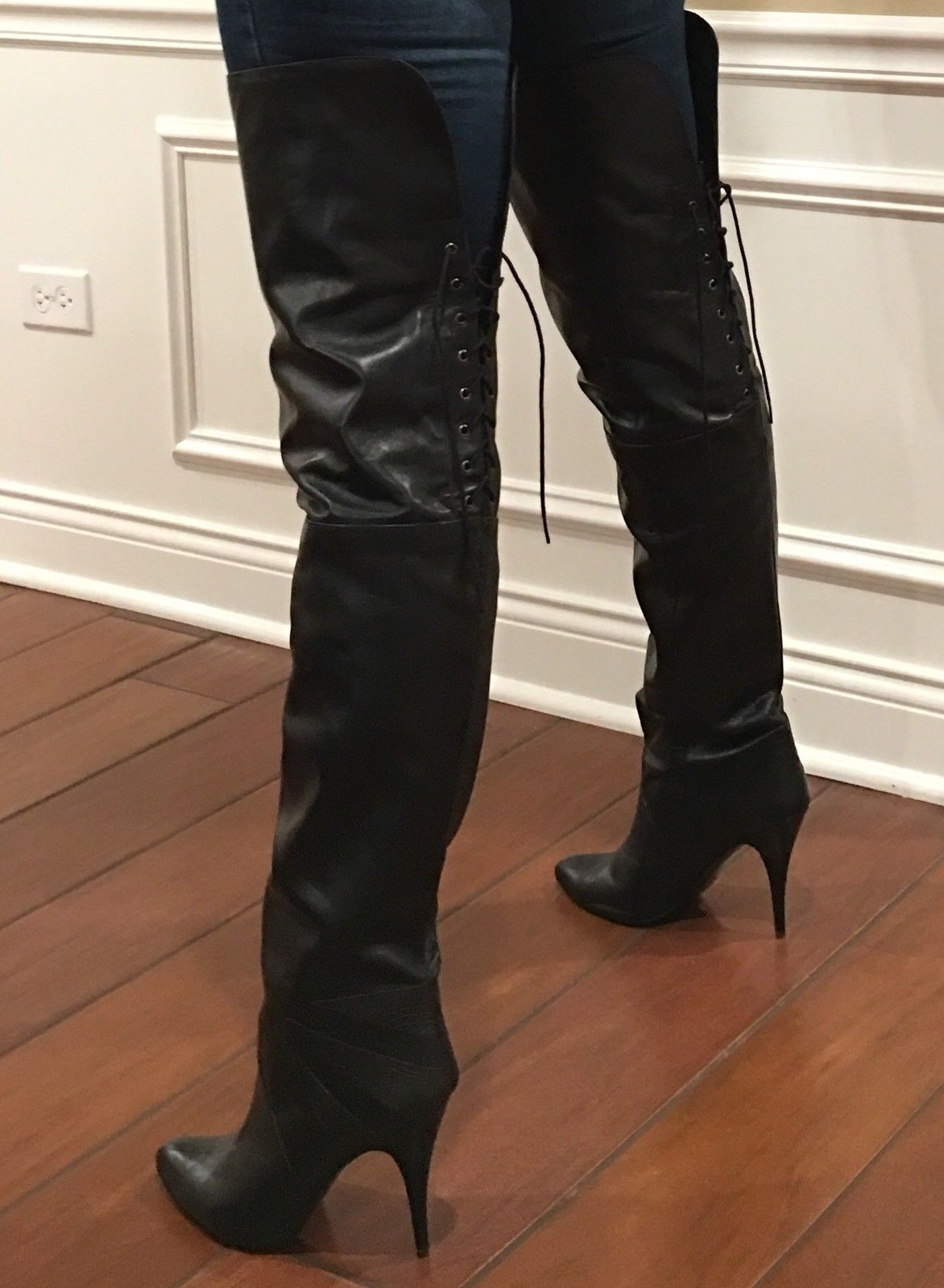 "368071e9bad New Sexy Rare Vintage 31"" WILD PAIR Black Leather Thigh High Boots Over The  Knee"