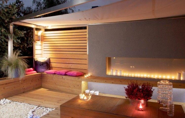 amenagement-jardin-terrasse-bancs-bois-bougies-chauffe-plat ...