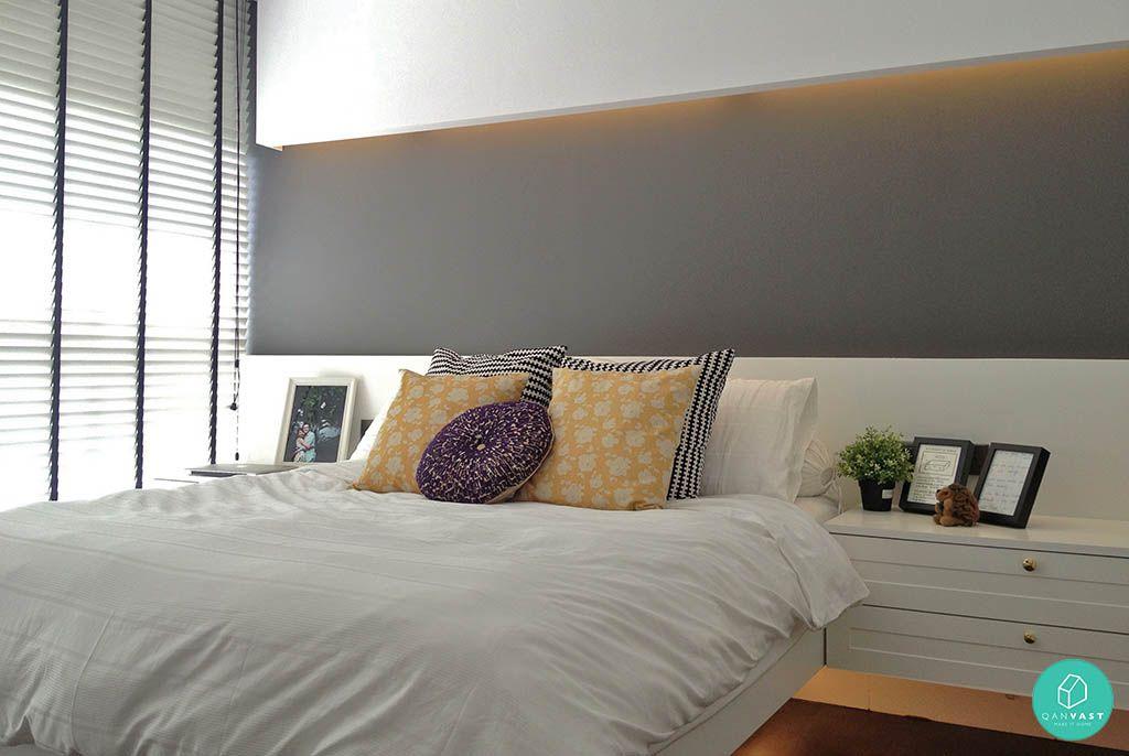 Bedroom wall with hidden lights Bedroom wall