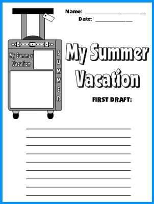 summer vacation suitcase templates fun back to school writing  my summer vacation suitcase first draft printable worksheets
