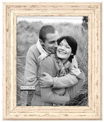 "Malden International Designs Off White Distressed 8x10"" Wood Picture Frame"
