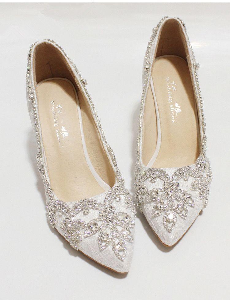 Women Ivory Lacey Crystal Wedding Low Heels Bridal Low Heels Shoes Us Size 8 9 Low Heel Shoes Wedding Shoes Heels Bridal Shoes
