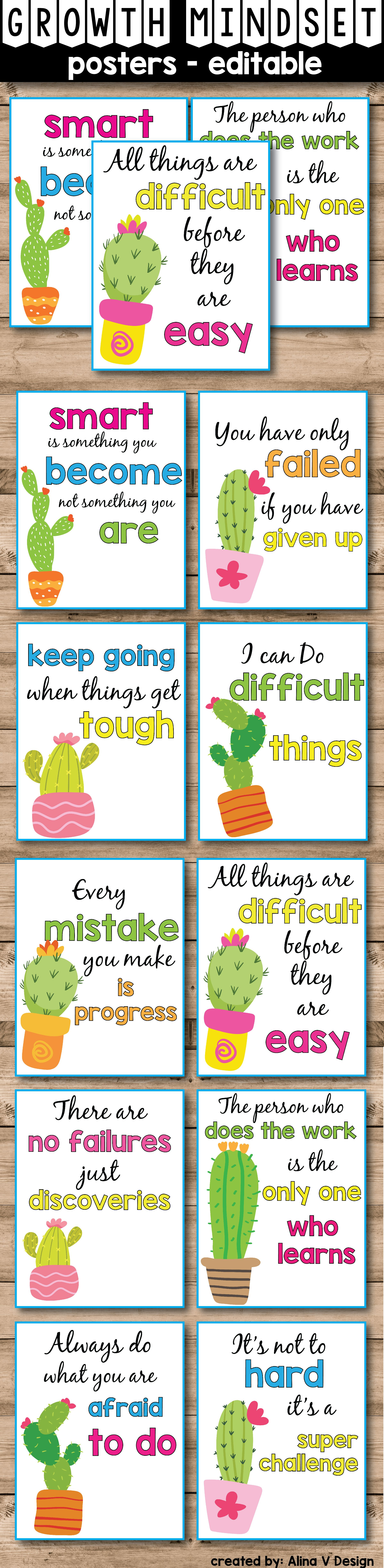 These Growth Mindset Posters Are The Perfect Addition To Your Succulent Theme Classroom Decor If You Teaching Kindergarten Elementary Or First Grade