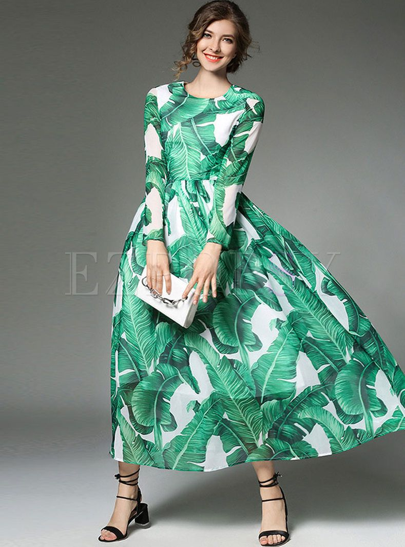 Chiffon green banana leaf print long sleeve maxi dress ezpopsy