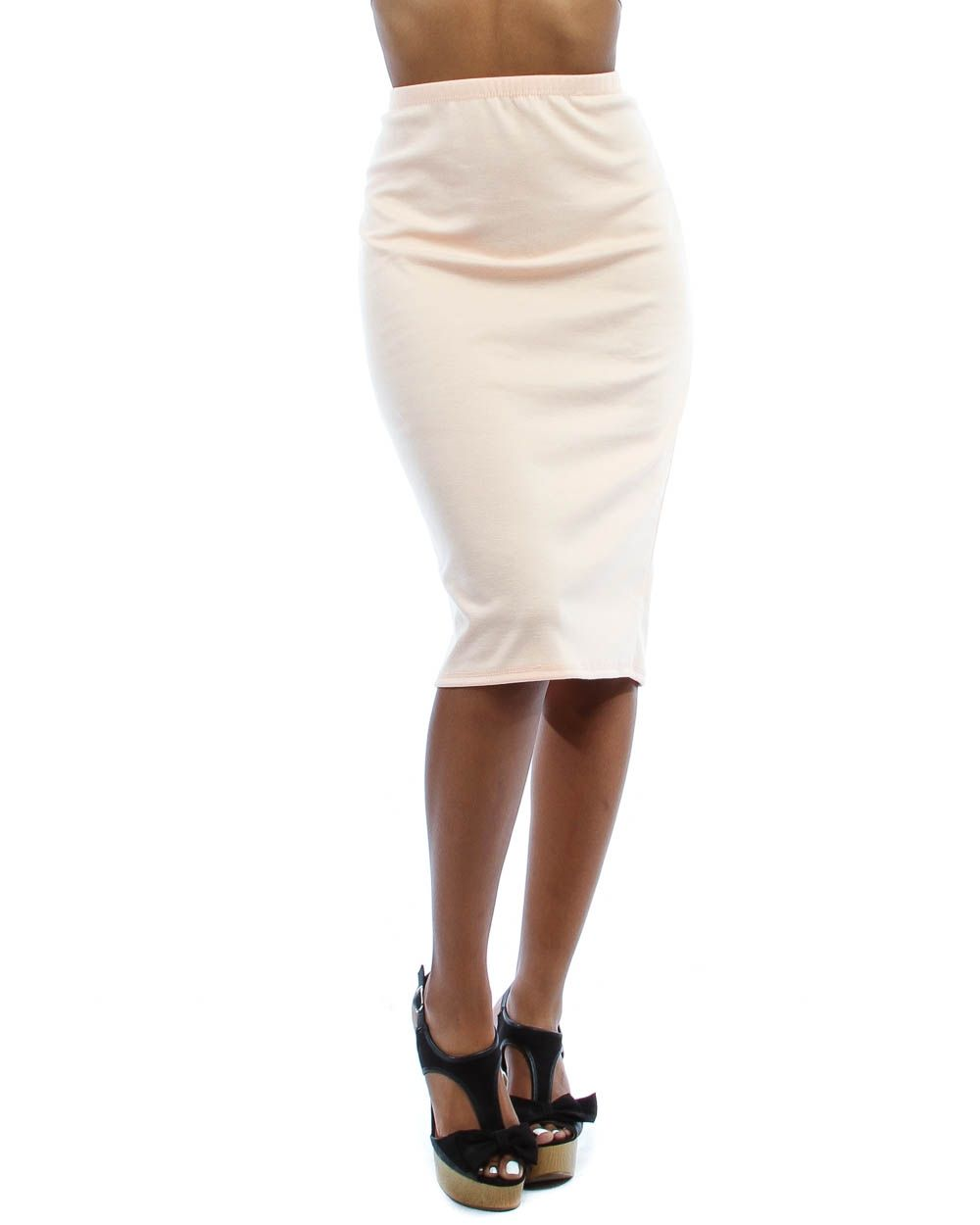 fbc7bbbff241e PEACH PLUS SIZE HIGH-WAIST LYSS LOO PENCIL SKIRT