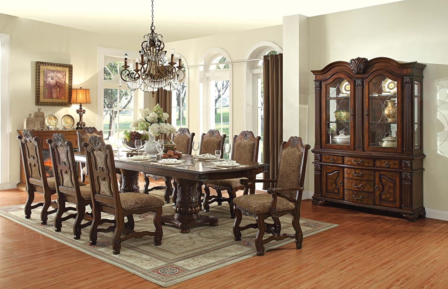 Homelegance Thurmont Double Pedestal Dining Set  Cherry  Stately Delectable 8 Piece Dining Room Set Decorating Design