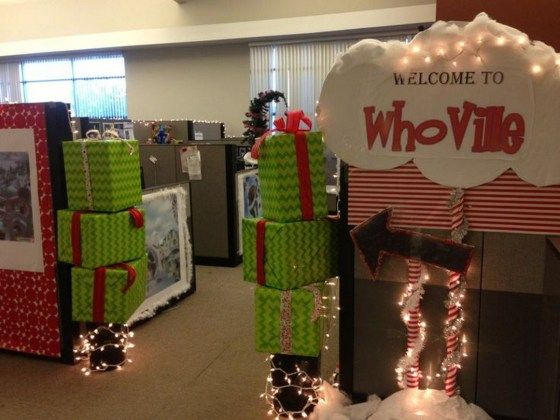 Grinch Whoville Christmas Party Holidays Decor (25) – Vanchitecture #cubiclechristmasdecorations