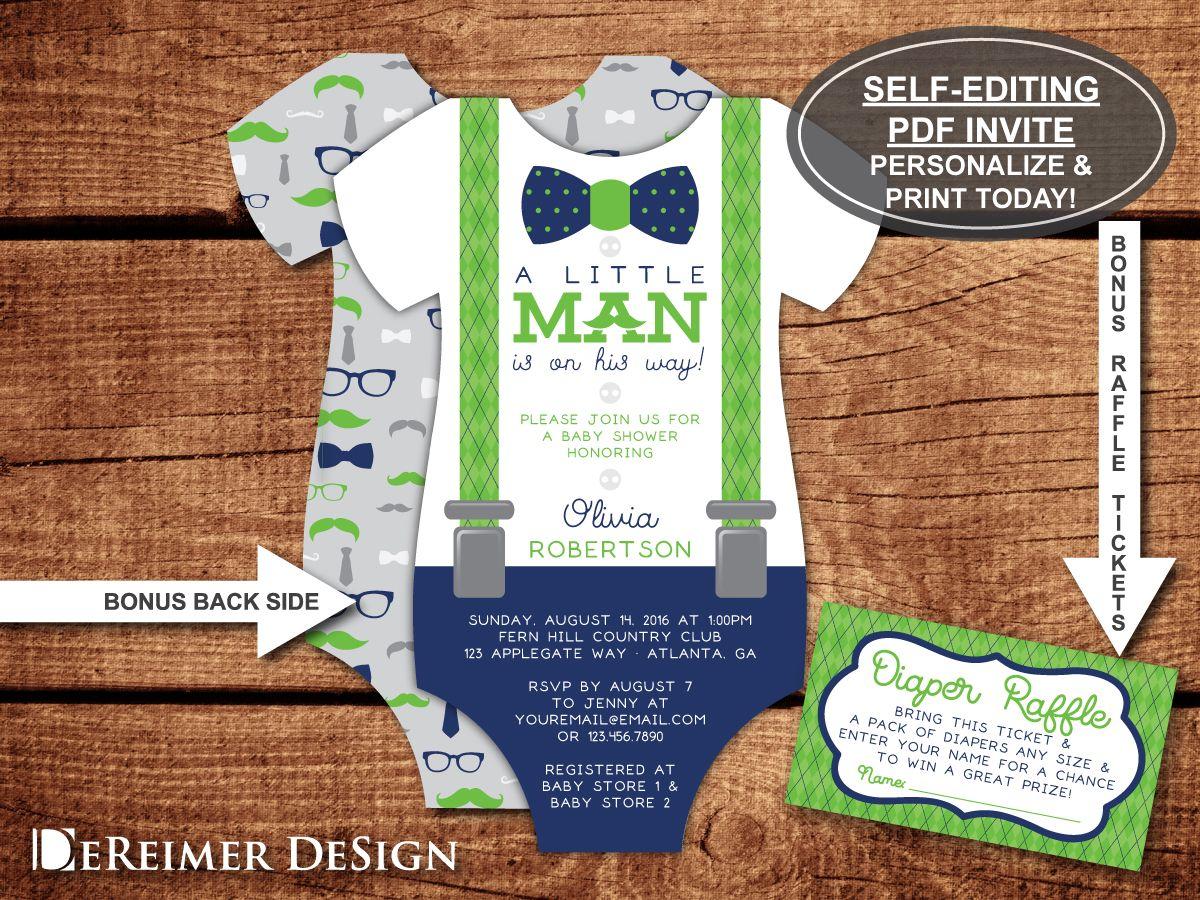 Little Man Baby Shower Invitation in Blue