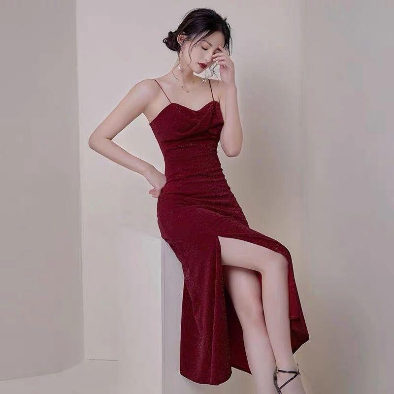 Red Prom Dress Spaghetti Party Dress V-neck Evening Dress Sexy Slit Party Dress Banquet Gown Dress -   17 prom dress Korean ideas
