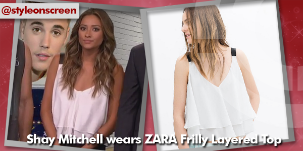 Where did Shay Mitchell get her white vest with black straps from on E's The Soup 30/07/14? - Style on Screen