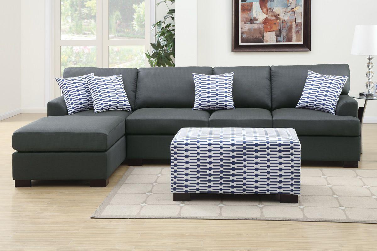 Coastal Dark Grey Sectional Sofa w Chaise Lounge