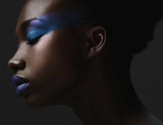 Makeup for Dark Skin :: Blue makeup on brown skin.