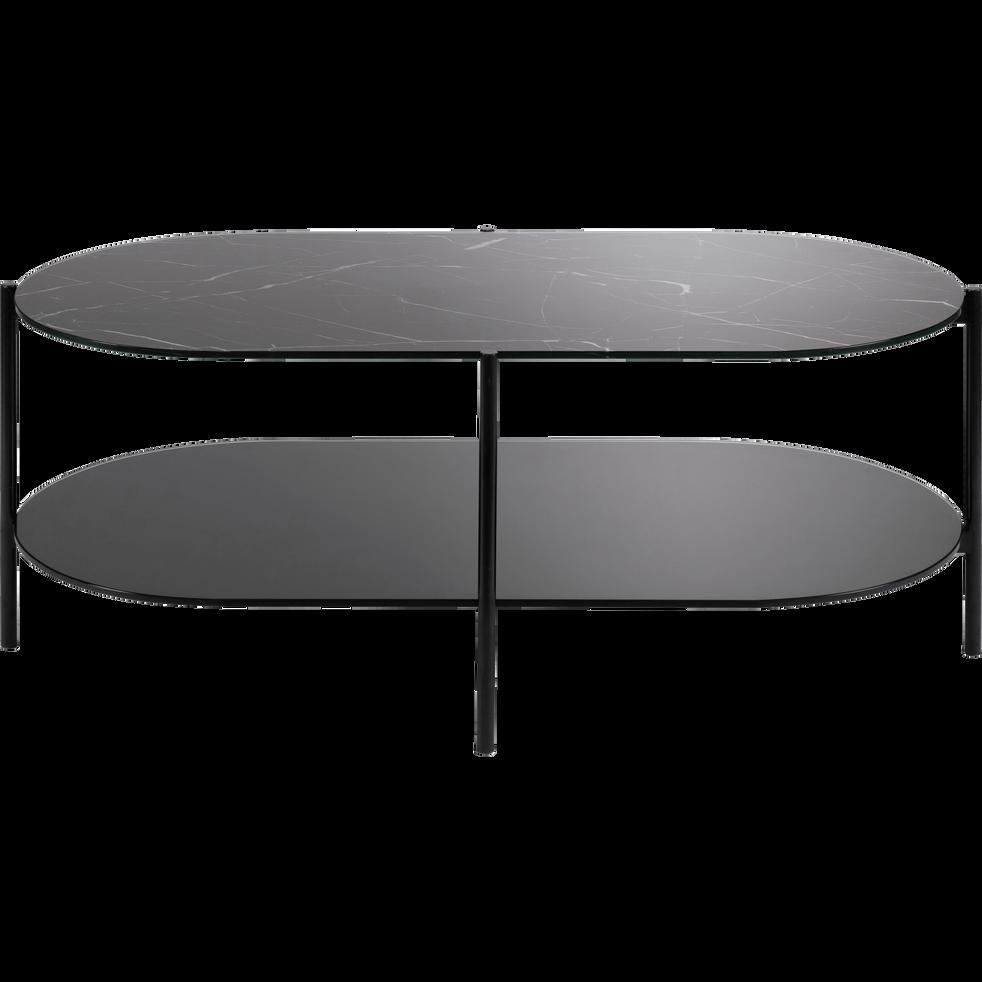Table Basse Ovale En Verre Effet Marbre Noir Guiero Tables Basses Alinea Coffee Table Side Table Design Furniture