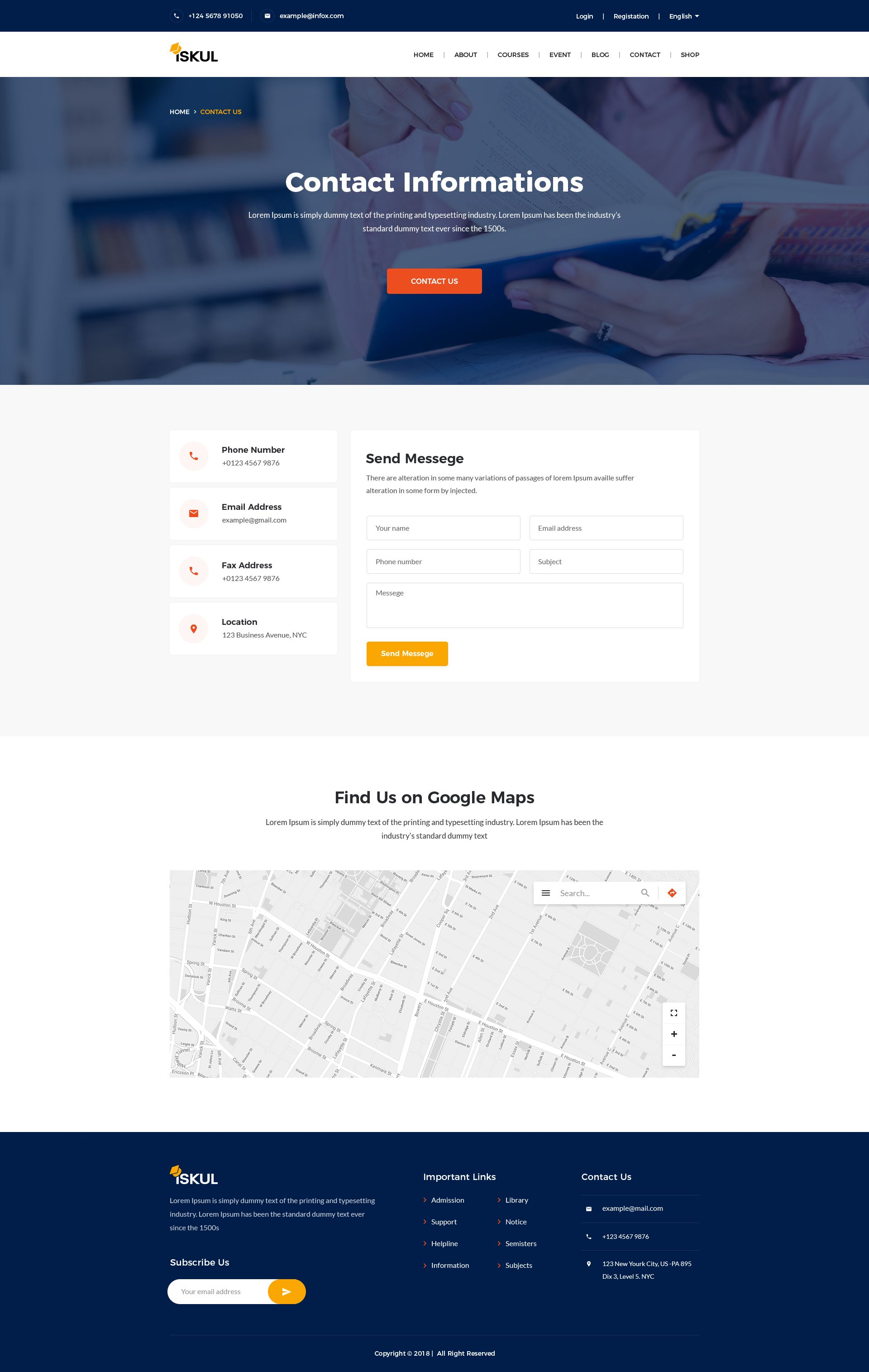 Iskul Educational Website Html Template Educational Iskul Website Template Web Design Inspiration Web Design Contact Us Page Design