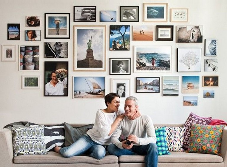 45 Creative Living Room Wall Gallery Design Ideas Gallery Wall Design Photo Wall Display Travel Gallery Wall