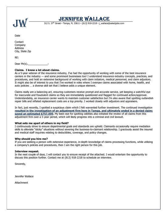 Insurance Cover Letter  Cover Letter Examples  Resume cover letter examples Sample resume