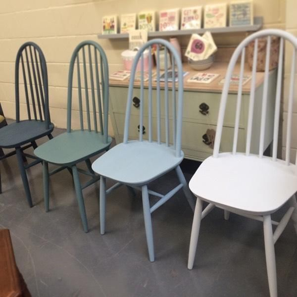 Set Of 4 Ercol Style Chairs Each Painted In A Blue Green Shade Of