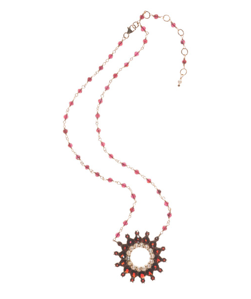 Circa 1900, Garnet and Seed Pearls Medallion, Sterling 10K, Overlay on Garnets on gold filled chain. – thesagelifestyle.com