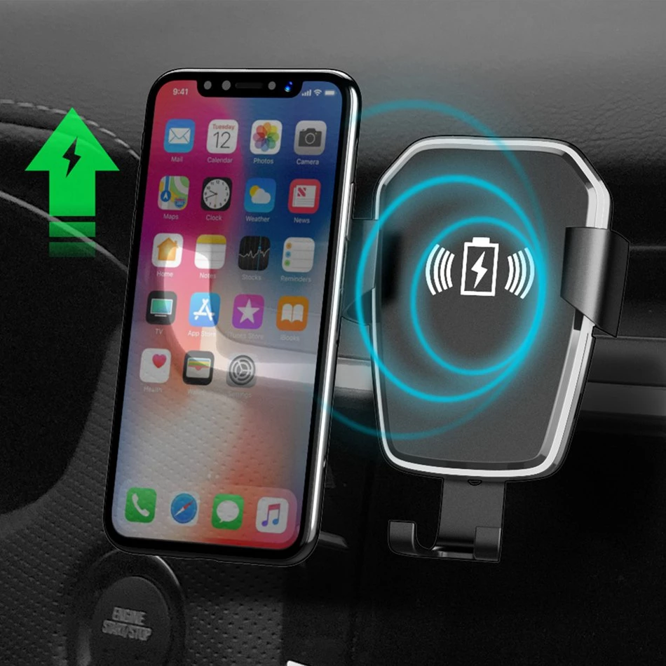 Wireless Car Charger Mount QI Fast Charger For iPhone XS