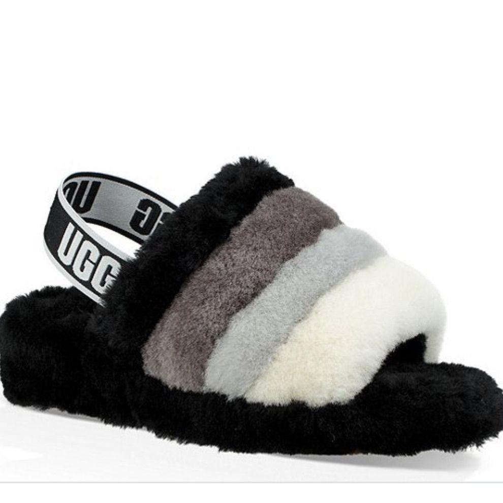 100% real UGG multi-color fur slides