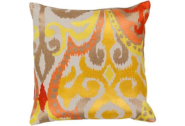 Damask Cotton Pillow Mustard On Onekingslane Com Like