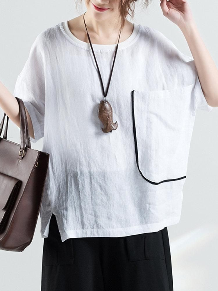 Casual Solid Short Sleeve Pullover T Shirt For Women Plus Size T