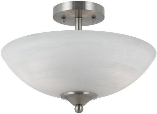 Triarch 33291 2 Light Value Semi Flush Ceiling Light Satin Click