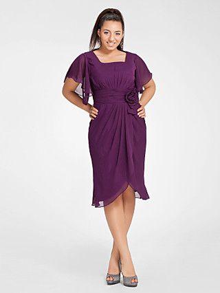 Sheath/Column Square Short Sleeve Knee-length Chiffon Cocktail Dress