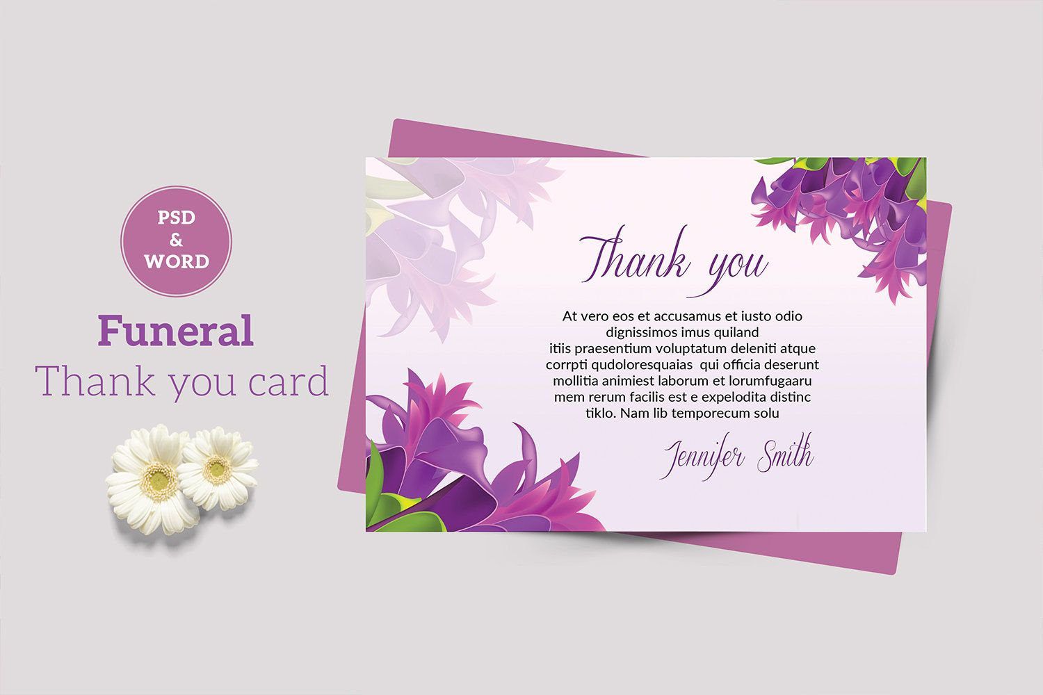 Funeral Thank You Card Template Thank You Notes Funeral Acknowledgement Card Editable Ms Word Photoshop Template V02 Funeral Thank You Cards Thank You Card Template Funeral Thank You